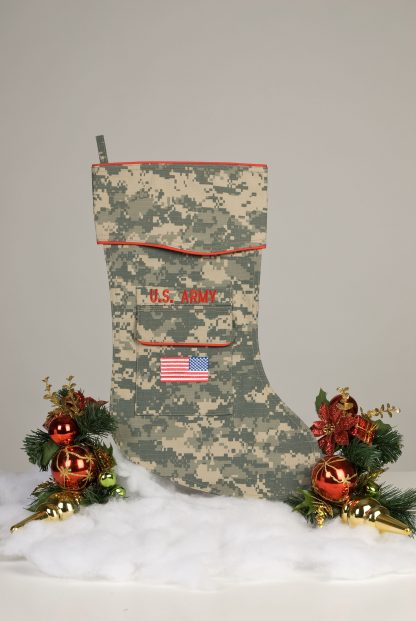 U.S. Army Christmas stocking crafted in the ACU fabric.