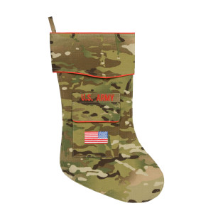 Army Christmas stocking in Multicam fabric.