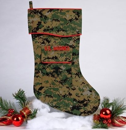 Marine Christmas stocking woodland
