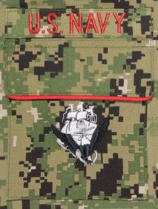 Navy Christmas stocking pocket detail.