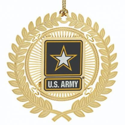 U.S Army Christmas Ornament crafted in solid brass anf finished in 24 karat gold.