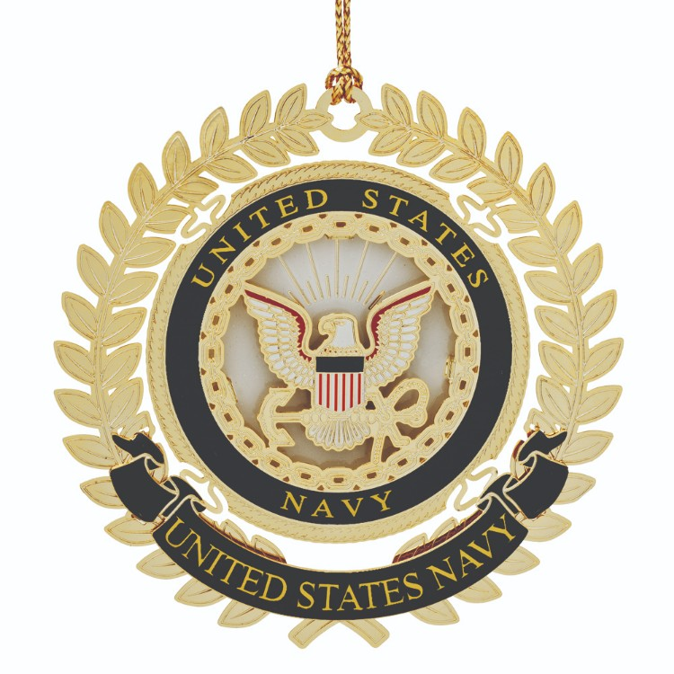 Navy Christmas Ornament with the US Navy emblem. - Navy Christmas Ornament Is Crafted In Solid Brass And Finished In 24