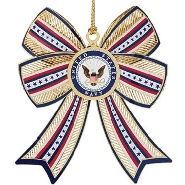 U.S. Navy Christmas ornament 3-D Bow design.
