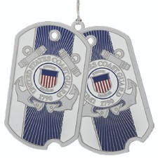 U.S. Coast Guard Dog Tag Ornament.