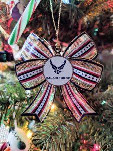 U.S. Air Force Christmas Ornament 3-D design displayed on Christmas tree