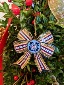 Coast Guard 3D Bow Christmas Ornament Displayed