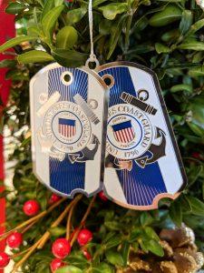 U.U. Coast Guard Christmas Ornament - Dog Tag style.