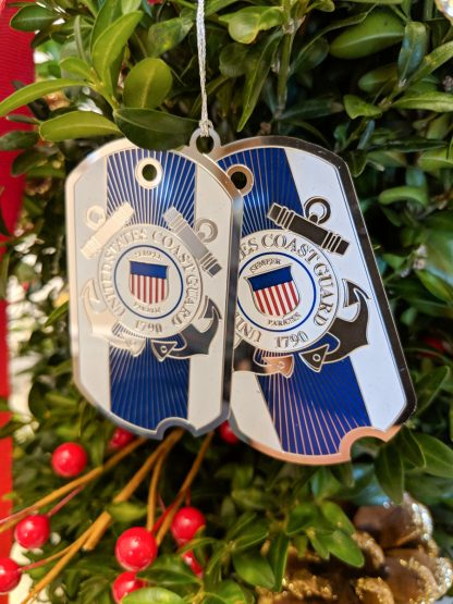 U.U. Coast Guard Christmas Ornament - Dog Tag style.