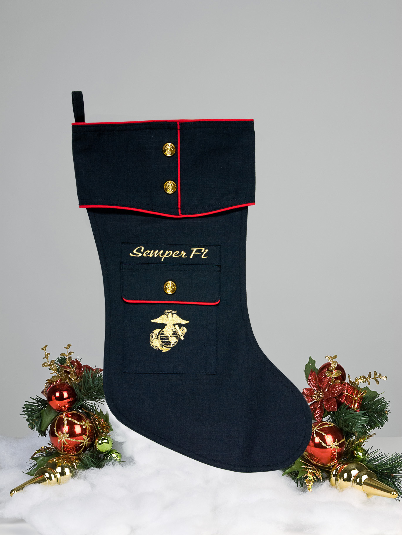 f5696a3ab63 U.S. Marine Dress Blue Christmas Stocking by Camosock - An elegant ...