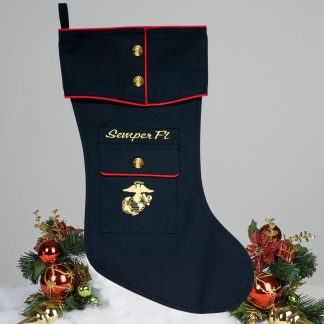 Marine Dress Blue Christmas Stocking