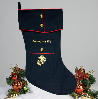Marine Dress Blue Christmas Stocking