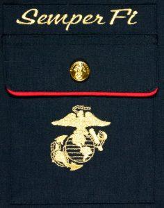 Marine Dress Blue Christmas Stocking pocket detail close up.